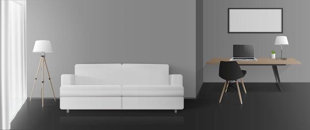 Современный номер с серыми стенами, рабочей зоной и гостиным уголком. диван, стол, стул, торшер, ноутбук. вектор.