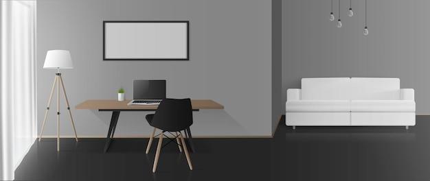 灰色の壁、ワークエリア、シーティングエリアのあるモダンな客室です。ソファ、テーブル、椅子、フロアランプ、ラップトップ。ベクター。