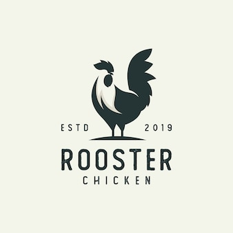 Modern rooster silhouette logo
