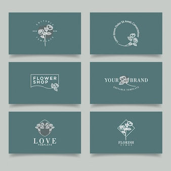 Modern rose floral logo collection editable frame template