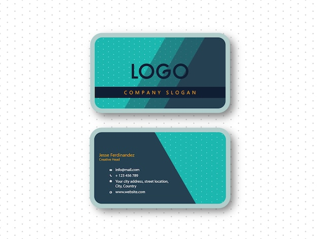 Modern rounded corner double side business card template