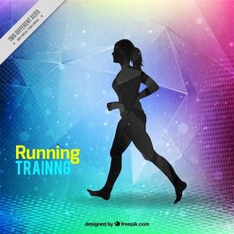Современный бег тренировки фон с силуэт женщины