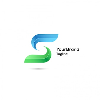 Modern s with blue and green color logo template