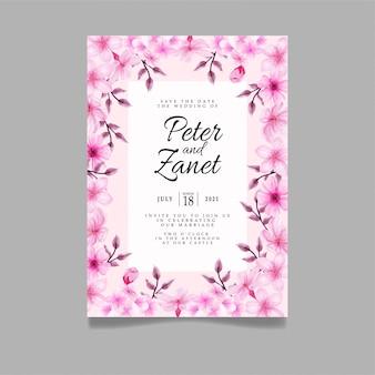 モダンな桜の水色の結婚式のイベントの招待状の編集可能なテンプレート