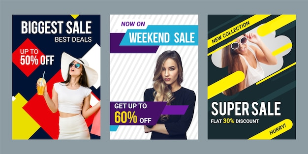 Modern sale banner or flyer template design set