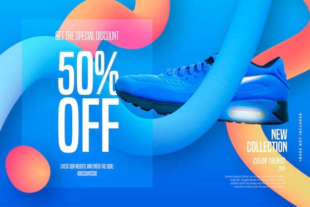 Modern sale banner template with fluid shapes