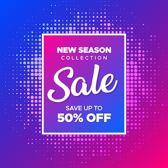 Modern sale banner with neon colors gradient