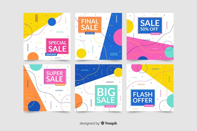 Modern sale banners for social media