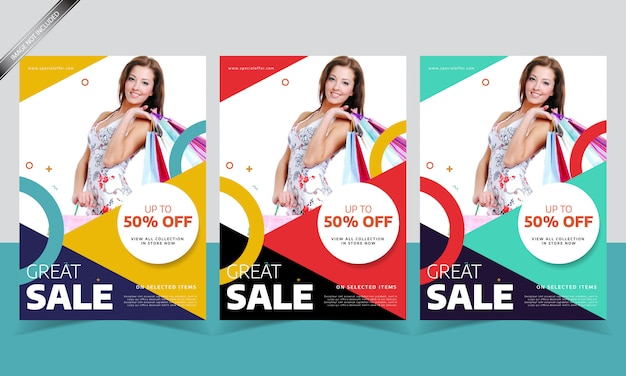 Modern sale flyer or poster template with different color
