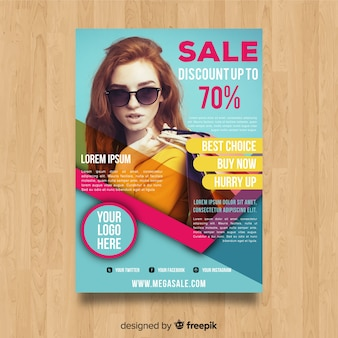 Modern sale flyer template with abstract design