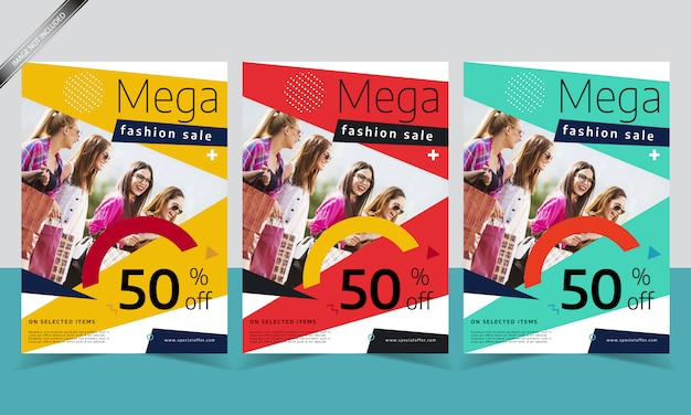 Modern sale flyer template with different color design