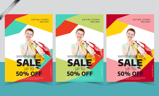 Modern sale flyer template with different color