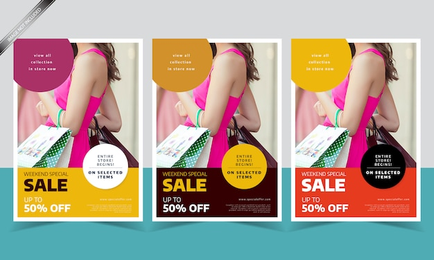 Modern sale flyer template with three different color