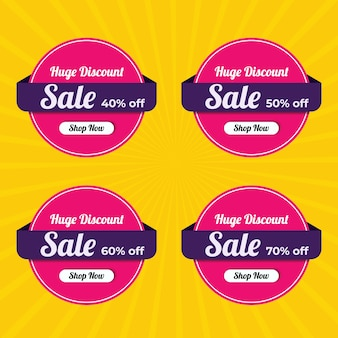 Modern sale label collection for social media