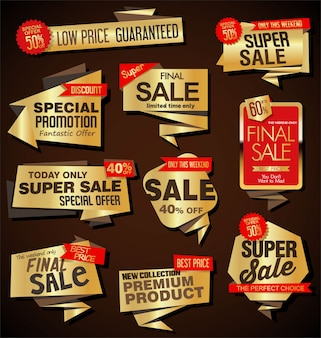 Modern sale labels and banners origami style collection
