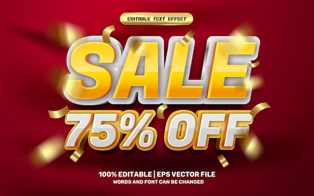 Modern sale off 3d editable text effect template style