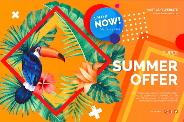 Modern sale offer banner with tropical elements