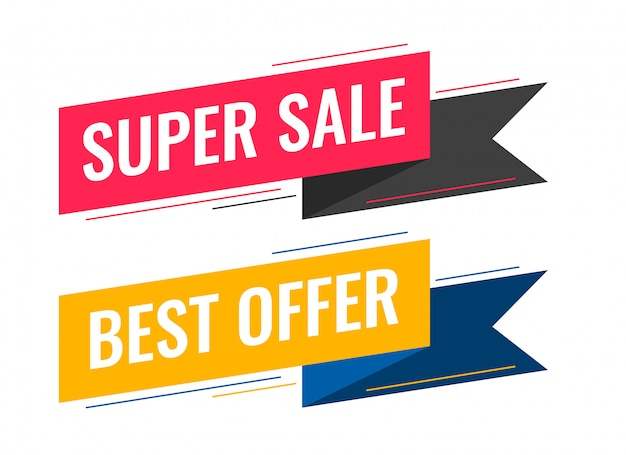 Modern sale ribbon banner set