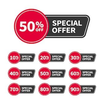 광고, 웹 및 인쇄 디자인에 사용하기 위해 today offer라는 텍스트가 있는 현대적인 판매 태그 또는 배너. 최신 유행 배지 템플릿, 최대 10, 20, 30, 40, 50, 60, 70, 80, 90% 할인. 벡터 평면 스타일입니다.