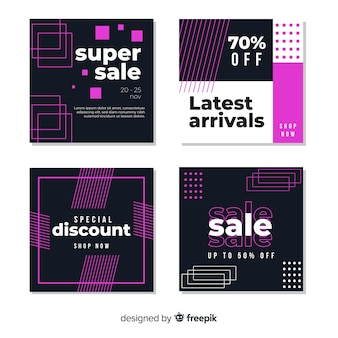 Modern sales banners collection for social media