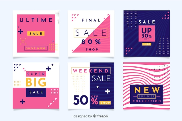 Modern sales banners for social media