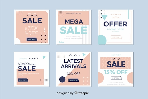 Modern sales banners for social media