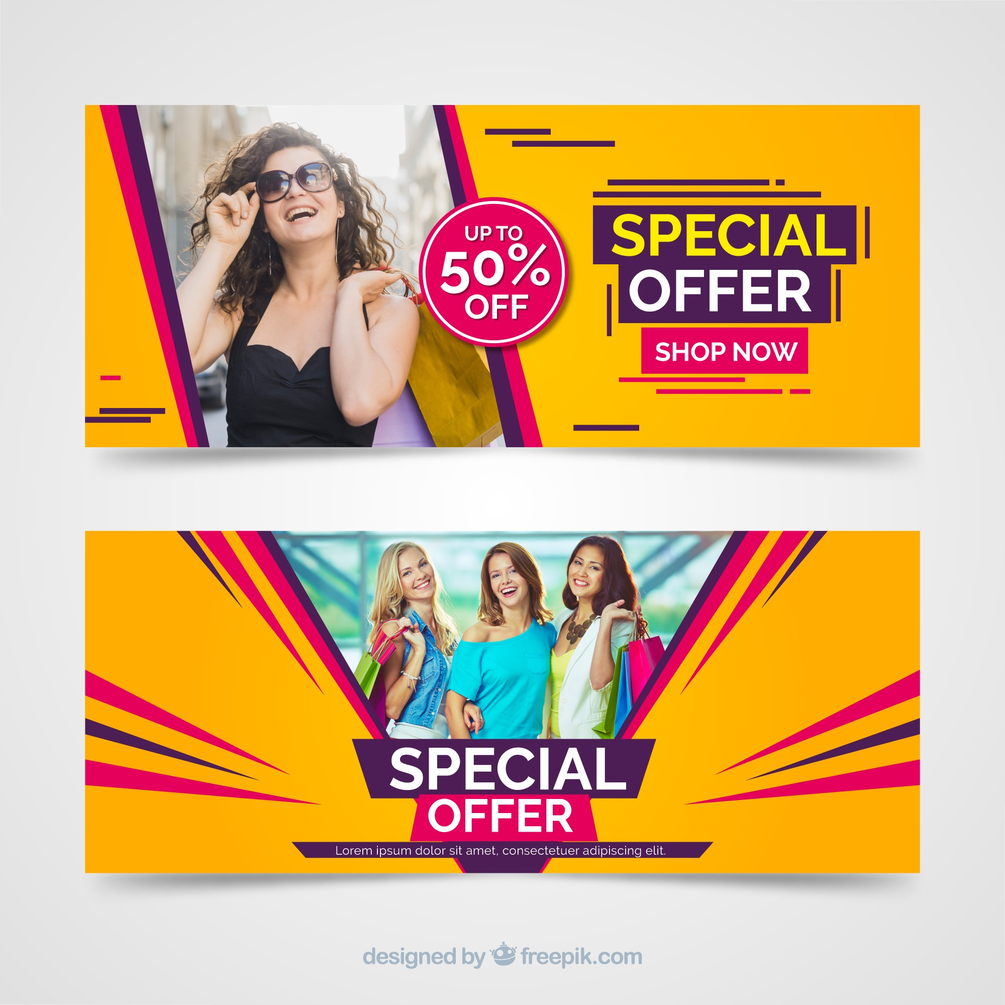 Modern sales banners with photo