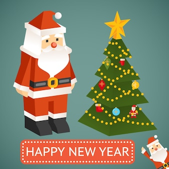 クリスマスツリーとモダンなサンタクロースのおもちゃ。テストでプレート