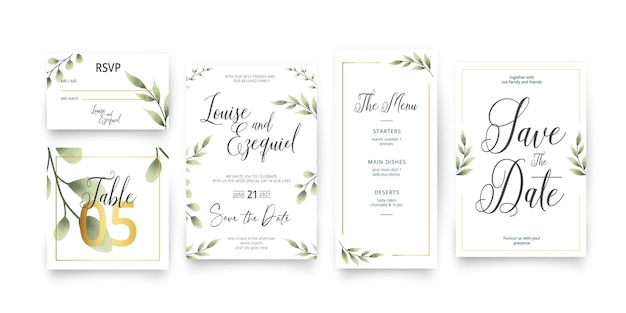 Modern save the date wedding stationery pack template