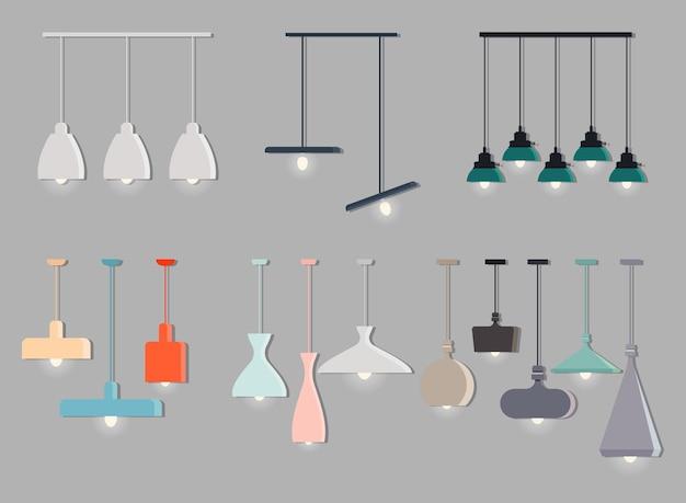 빛나는 전구가 있는 현대적인 스칸디나비아 스타일의 다채로운 천장 조명