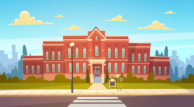 Modern school building exterior with crosswalk welcome back to education concept