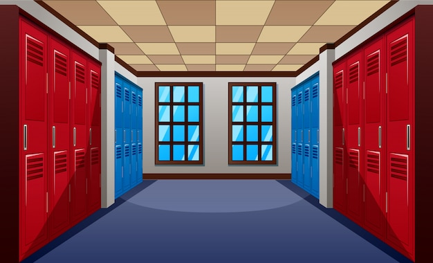 A modern school hallway with row of blue and red lockers