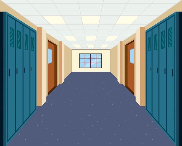 A modern school hallway