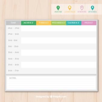 Современный шаблон расписания занятий с булавками