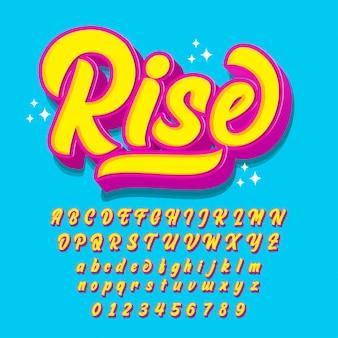 Modern script font with pop art style