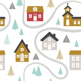 Modern seamless childish pattern with cute houses.