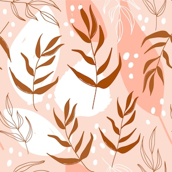 Modern seamless floral pattern with leaves