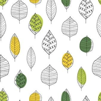Modern seamless leaf pattern. line art leaf design.