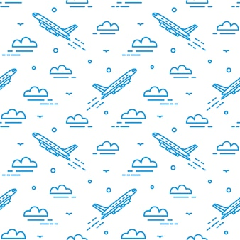空を飛んでいる飛行機でモダンなシームレスパターン。線で描かれた雲の中で飛行機が昇順の背景。