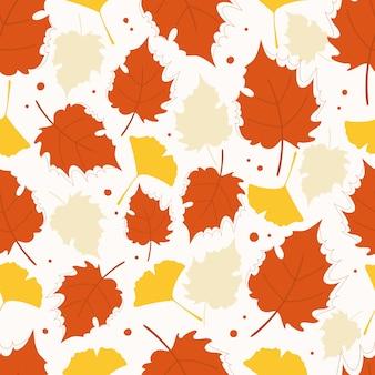 Modern seamless pattern with autumn orange leaves.