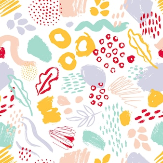 Modern seamless pattern with colorful hand painted circles, smears, stains on white