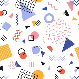 Modern seamless pattern with colorful lines and geometric shapes on white background.