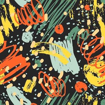 カラフルなペイントの痕跡とマーク、ブラシストローク、黒の背景に斑点のあるモダンなシームレスパターン