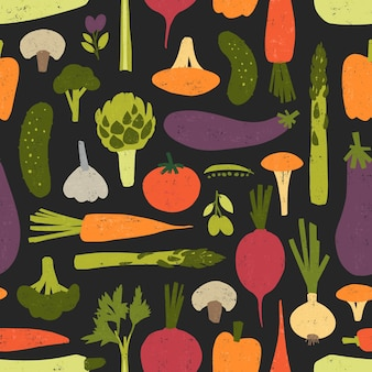 Modern seamless pattern with fresh delicious organic vegetables and mushrooms