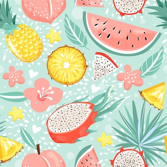 Modern seamless pattern with fruits, flowers, leaves and heart.