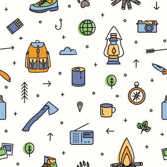 Modern seamless pattern with hiking and touristic equipment and tools