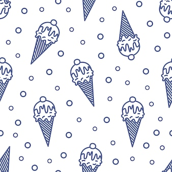 Modern seamless pattern with ice cream in wafer, waffle or sugar cone drawn with contour lines on white background. illustration in linear style for wrapping paper, fabric print, wallpaper.