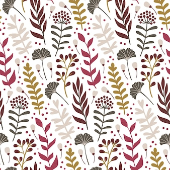 Modern seamless pattern with leaves and floral elements.