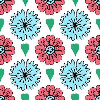 Современный бесшовный образец с листьями, цветами и цветочными элементами. подходит для печати. векторные обои.