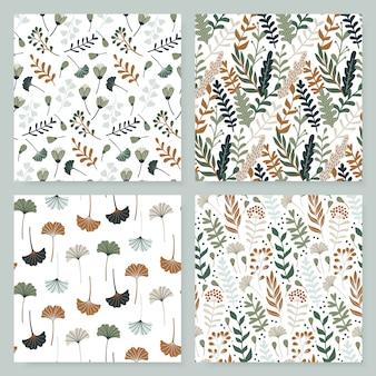 Современный бесшовный узор с листьями, цветами и цветочными элементами.